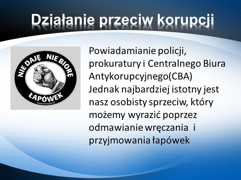 Powiadamianie policji, prokuratury i Centralnego Biura Antykorupcyjnego(CBA) Jednak najbardziej istotny jest nasz osobisty sprzeciw, który możemy wyra