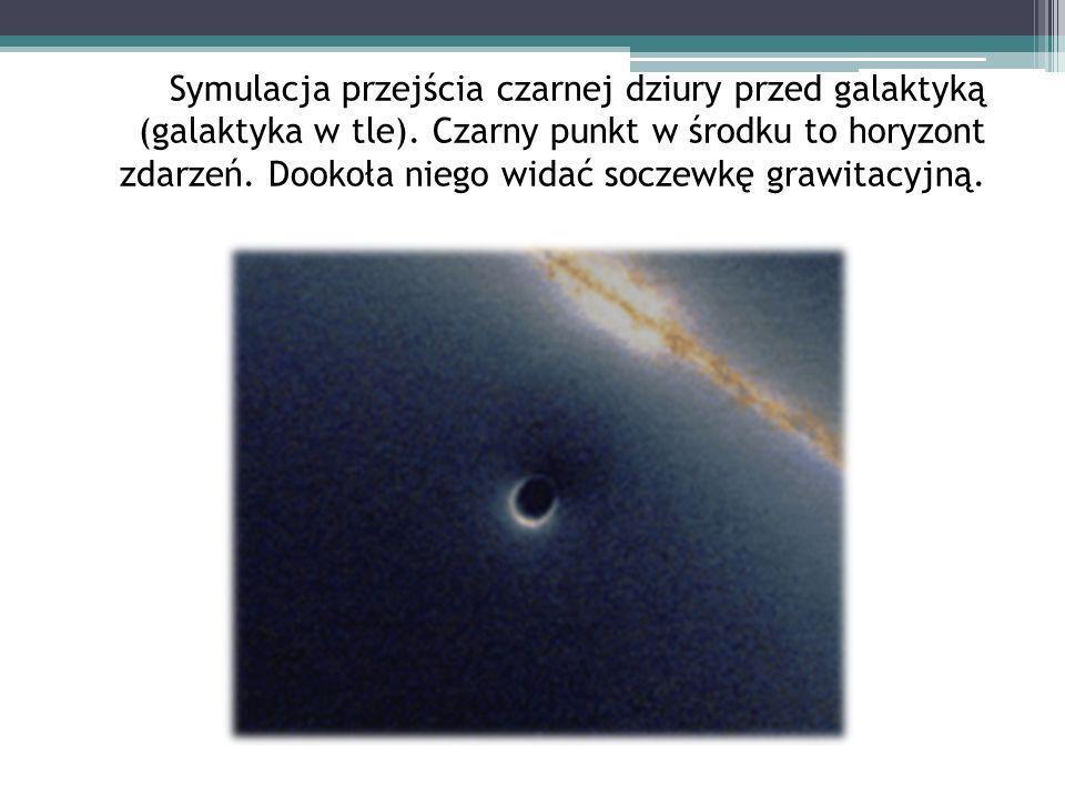 Symulacja przejścia czarnej dziury przed galaktyką (galaktyka w tle). Czarny punkt w środku to horyzont zdarzeń. Dookoła niego widać soczewkę grawitac