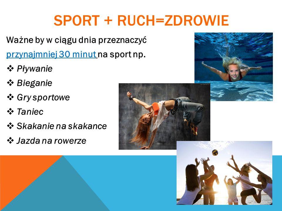 SPORT + RUCH=ZDROWIE Ważne by w ciągu dnia przeznaczyć przynajmniej 30 minut na sport np. Pływanie Bieganie Gry sportowe Taniec Skakanie na skakance J