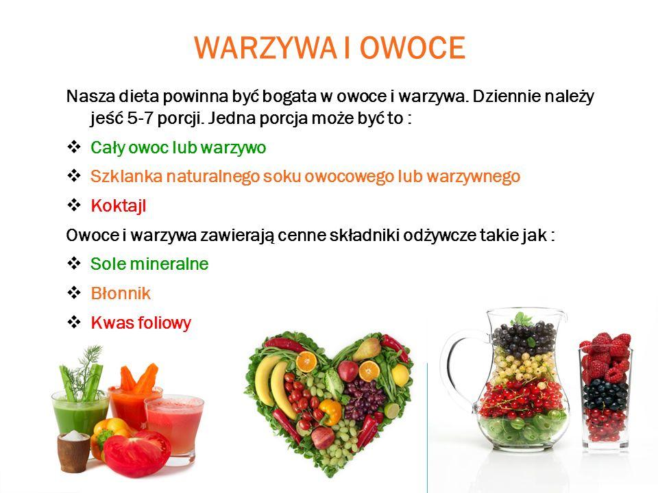 WARZYWA I OWOCE Nasza dieta powinna być bogata w owoce i warzywa. Dziennie należy jeść 5-7 porcji. Jedna porcja może być to : Cały owoc lub warzywo Sz