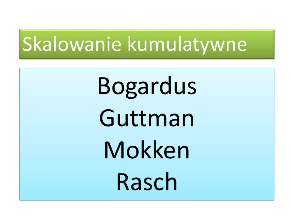 Skalowanie kumulatywne Bogardus Guttman Mokken Rasch Bogardus Guttman Mokken Rasch