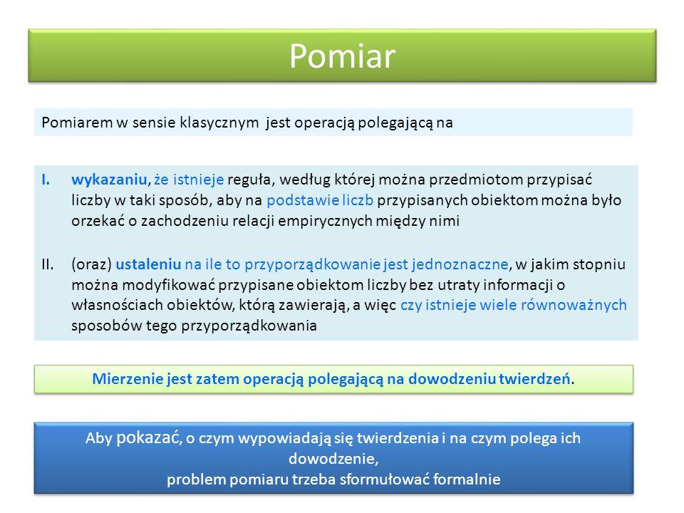 Estymacja modelu 1PL a założenia na temat rozkładu cechy ukrytej Statystyką dostateczną parametru osoby jest Statystyką dostateczną parametru wskaźmika jest sumy r i s odwzorowują porządek obiektów i wskaźników ze względu na nasycenie cechy ukrytej Metody estymacji parametrów najprostszego modelu 1PL: Joint Maximum Likelihood – dla parametrów, jednocześnie Conditional Maximum Likelihood (CML) – dla parametru Modalny Estymator Bayesa (BME) dla parametru Dla modeli 2PL oraz 3PL estymacja jest bardziej złożona