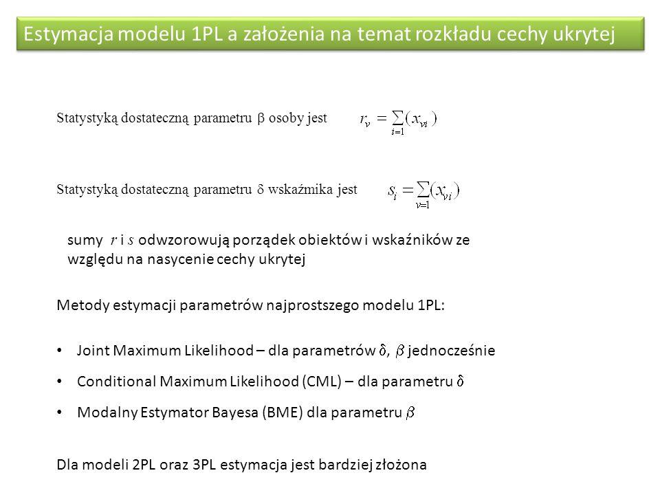 Estymacja modelu 1PL a założenia na temat rozkładu cechy ukrytej Statystyką dostateczną parametru osoby jest Statystyką dostateczną parametru wskaźmik