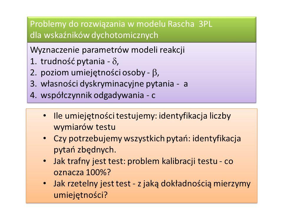 Problemy do rozwiązania w modelu Rascha 3PL dla wskaźników dychotomicznych Wyznaczenie parametrów modeli reakcji 1.trudność pytania -, 2.poziom umieję