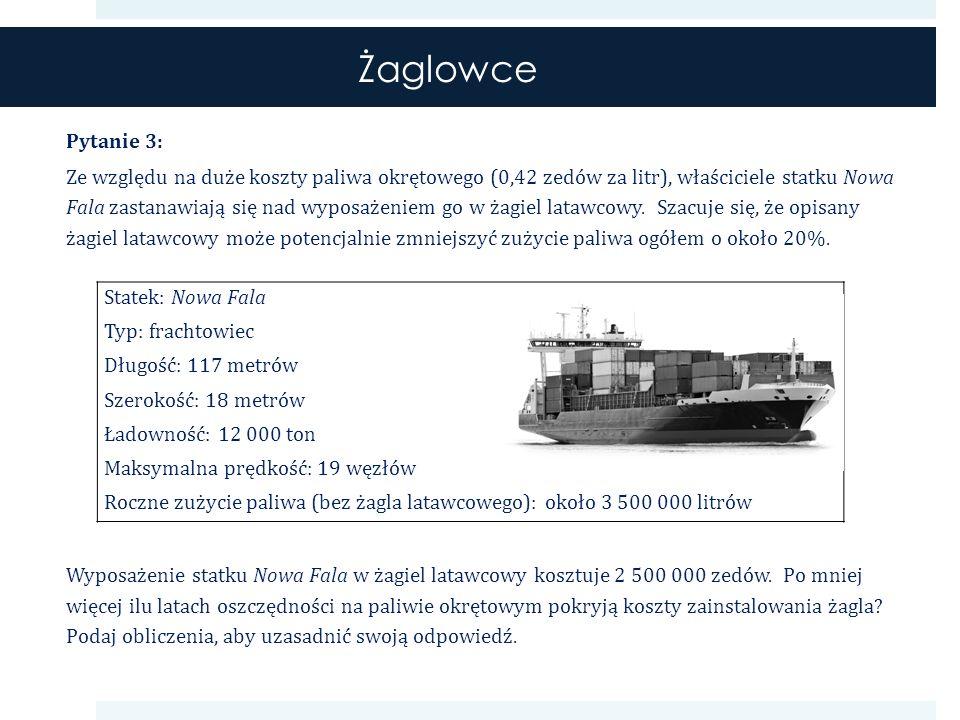 Żaglowce Pytanie 3: Ze względu na duże koszty paliwa okrętowego (0,42 zedów za litr), właściciele statku Nowa Fala zastanawiają się nad wyposażeniem go w żagiel latawcowy.