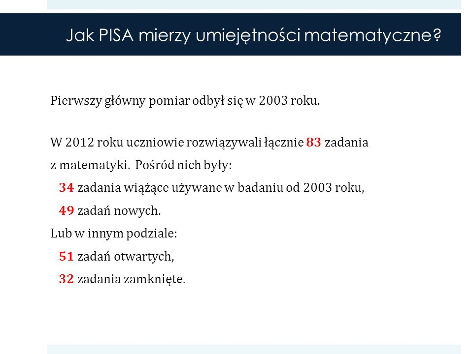 Odsetki uczniów na poszczególnych poziomach umiejętności w Polsce w kolejnych latach badania