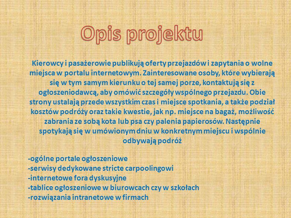 -propagowanie ideii Carpoolingu -proba stworzenia strony internetowej -pozyskanie sponsorow -duze zapotrzebowanie na pograniczu polsko-niemieckim -brak odpowiednikow polskich stron o Carpoolingu