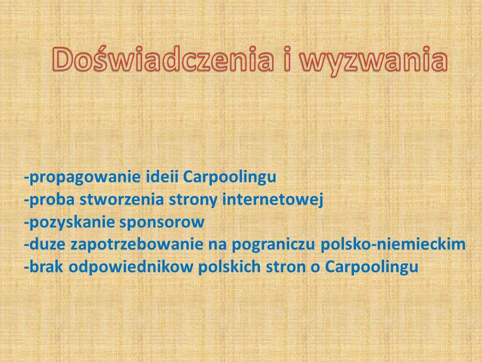 -propagowanie ideii Carpoolingu -proba stworzenia strony internetowej -pozyskanie sponsorow -duze zapotrzebowanie na pograniczu polsko-niemieckim -bra