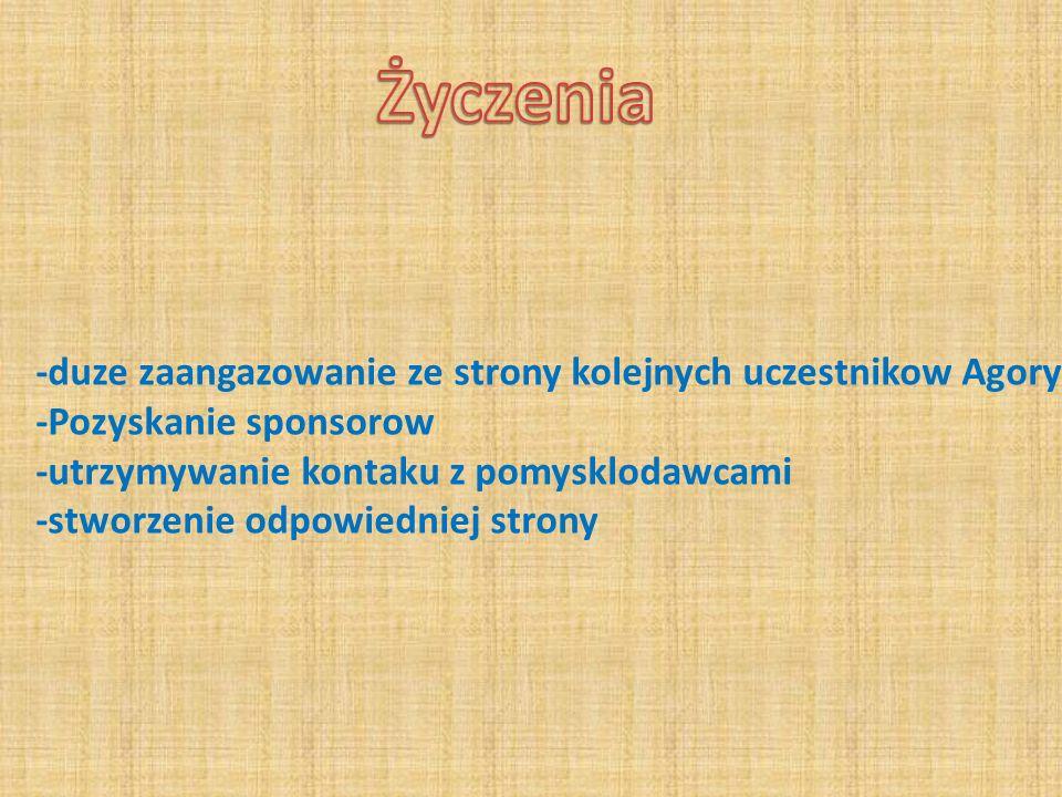 -duze zaangazowanie ze strony kolejnych uczestnikow Agory...