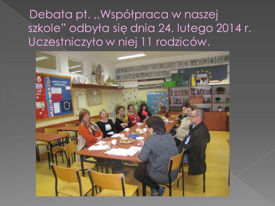Debata pt.,,Współpraca w naszej szkole odbyła się dnia 24.