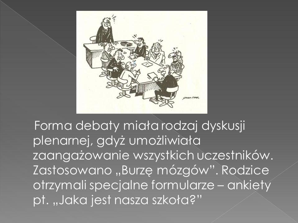 Forma debaty miała rodzaj dyskusji plenarnej, gdyż umożliwiała zaangażowanie wszystkich uczestników.
