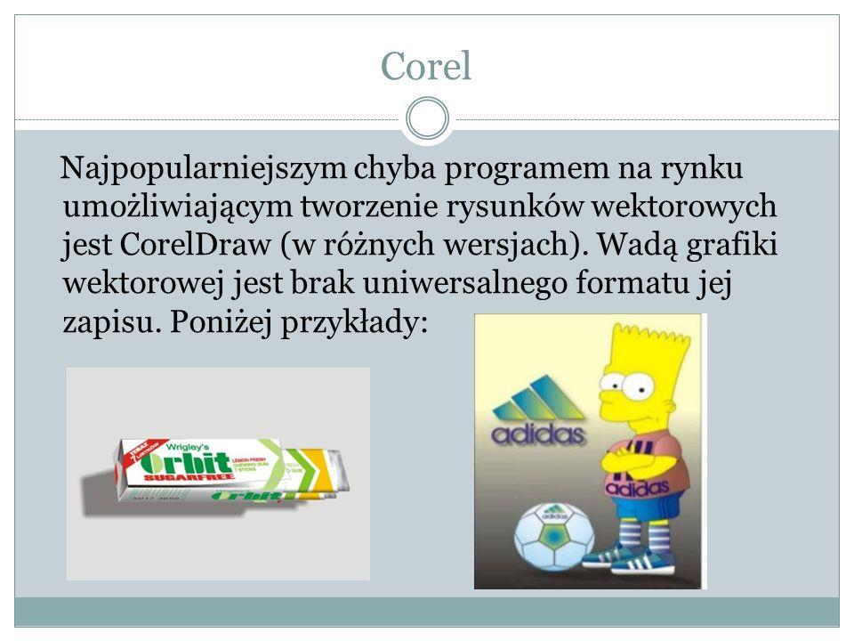 Corel Najpopularniejszym chyba programem na rynku umożliwiającym tworzenie rysunków wektorowych jest CorelDraw (w różnych wersjach). Wadą grafiki wekt
