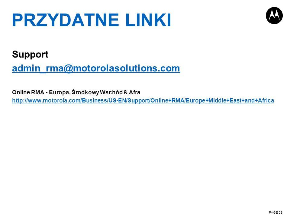 PRZYDATNE LINKI Support admin_rma@motorolasolutions.com Online RMA - Europa, Środkowy Wschód & Afra http://www.motorola.com/Business/US-EN/Support/Onl