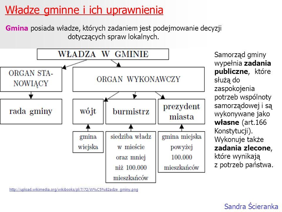 Władze gminne i ich uprawnienia Sandra Ścieranka Gmina posiada władze, których zadaniem jest podejmowanie decyzji dotyczących spraw lokalnych. Samorzą