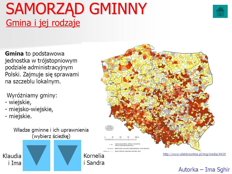 Gmina i jej rodzaje SAMORZĄD GMINNY Autorka – Ima Sghir Gmina to podstawowa jednostka w trójstopniowym podziale administracyjnym Polski. Zajmuje się s