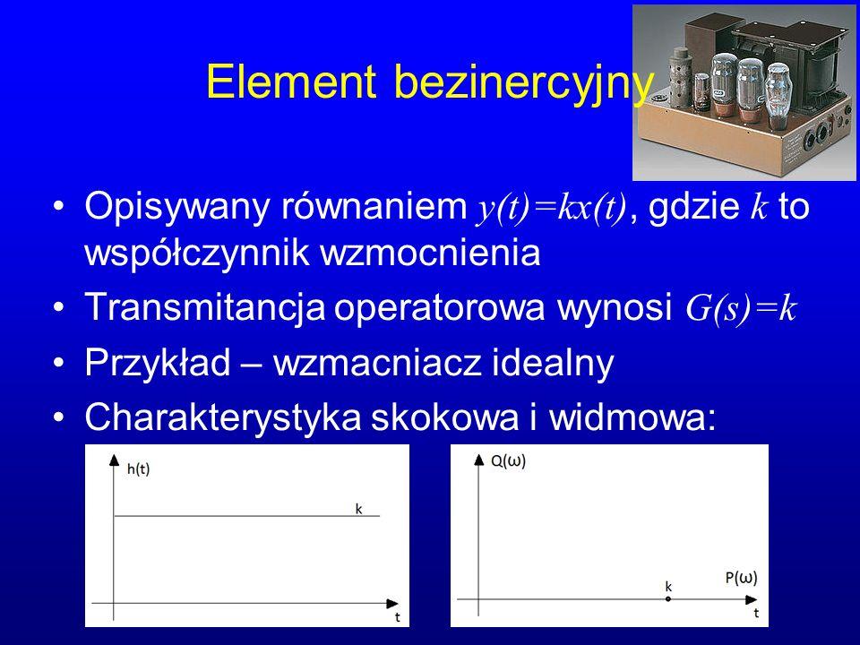 Element bezinercyjny Opisywany równaniem y(t)=kx(t), gdzie k to współczynnik wzmocnienia Transmitancja operatorowa wynosi G(s)=k Przykład – wzmacniacz idealny Charakterystyka skokowa i widmowa: