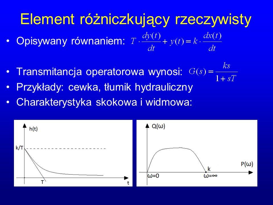 Element różniczkujący rzeczywisty Opisywany równaniem: Transmitancja operatorowa wynosi: Przykłady: cewka, tłumik hydrauliczny Charakterystyka skokowa i widmowa: