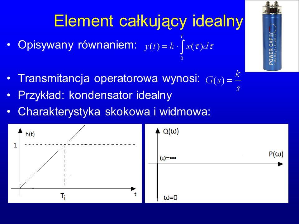 Element całkujący idealny Opisywany równaniem: Transmitancja operatorowa wynosi: Przykład: kondensator idealny Charakterystyka skokowa i widmowa: