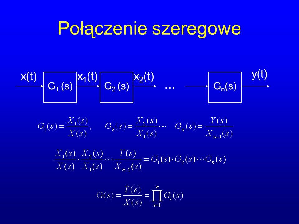 Połączenie szeregowe... x(t) G 1 (s) y(t) G 2 (s)G n (s) x 1 (t)x 2 (t)