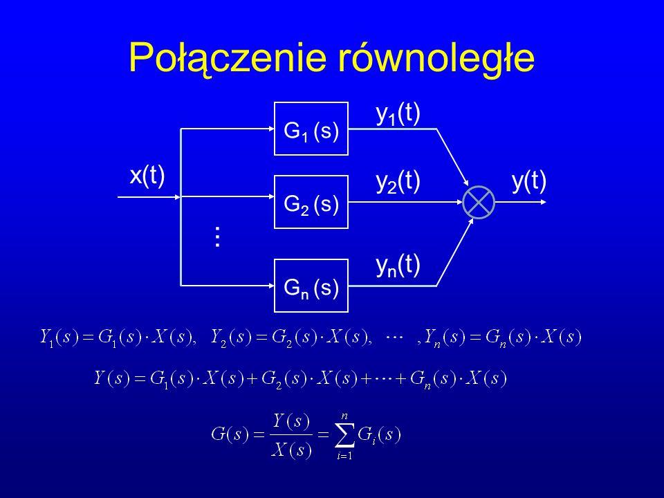 Element opóźniający Opisywany równaniem: Transmitancja operatorowa wynosi: Przykład: transporter taśmowy Charakterystyka skokowa i widmowa: