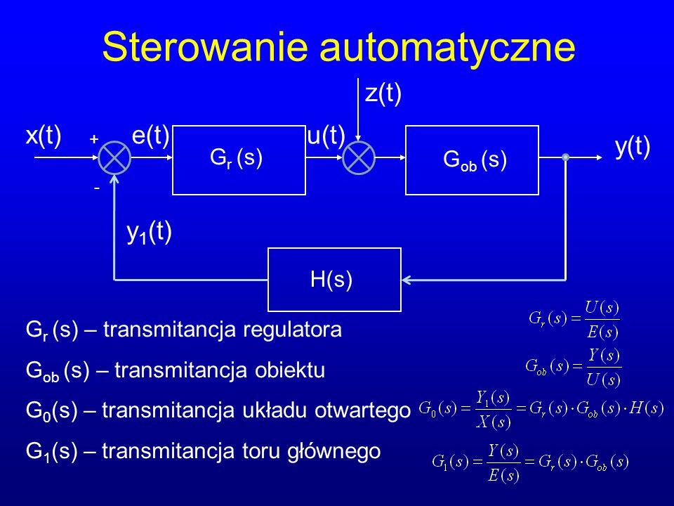Sterowanie automatyczne x(t) G r (s) y(t) u(t) + - e(t) G ob (s) H(s) z(t) G r (s) – transmitancja regulatora G ob (s) – transmitancja obiektu G 0 (s) – transmitancja układu otwartego G 1 (s) – transmitancja toru głównego y 1 (t)