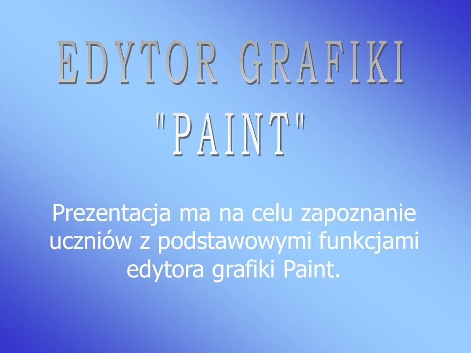 Prezentacja ma na celu zapoznanie uczniów z podstawowymi funkcjami edytora grafiki Paint.