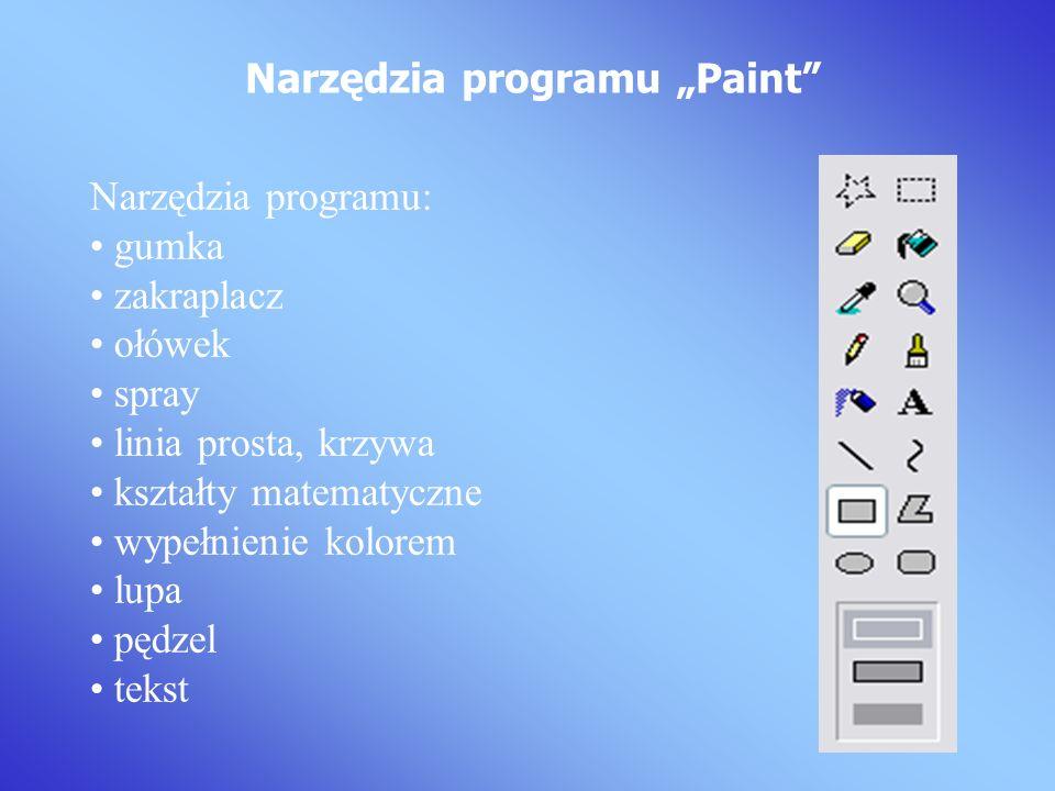 Narzędzia programu: gumka zakraplacz ołówek spray linia prosta, krzywa kształty matematyczne wypełnienie kolorem lupa pędzel tekst Narzędzia programu Paint