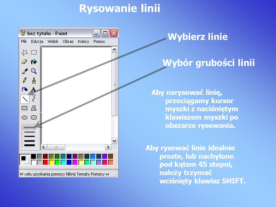 Aby narysować linię, przeciągamy kursor myszki z naciśniętym klawiszem myszki po obszarze rysowania.
