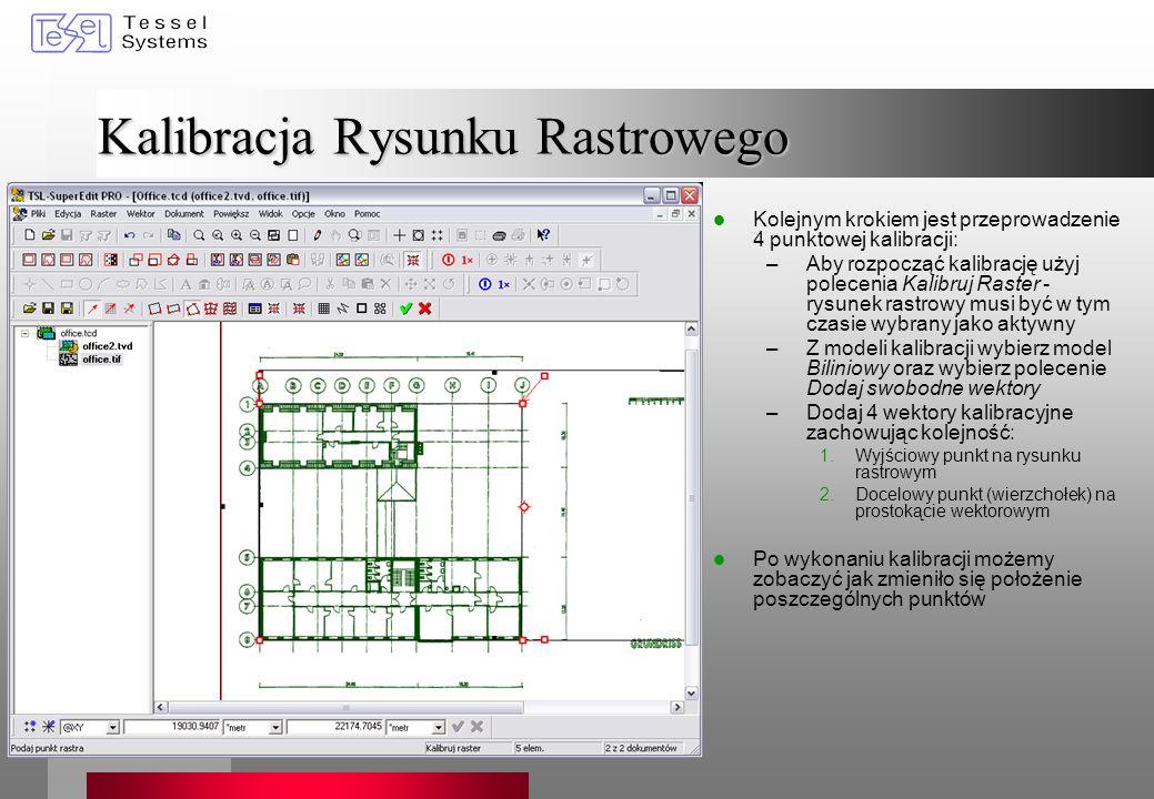 Kalibracja Rysunku Rastrowego Kolejnym krokiem jest przeprowadzenie 4 punktowej kalibracji: –Aby rozpocząć kalibrację użyj polecenia Kalibruj Raster -