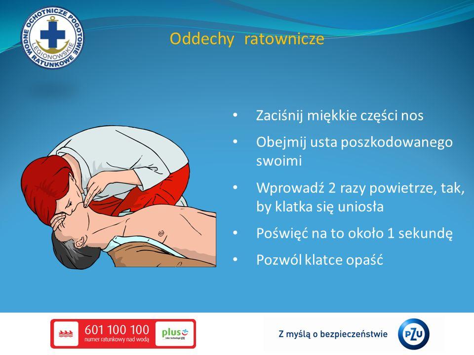 Oddechy ratownicze Zaciśnij miękkie części nos Obejmij usta poszkodowanego swoimi Wprowadź 2 razy powietrze, tak, by klatka się uniosła Poświęć na to około 1 sekundę Pozwól klatce opaść
