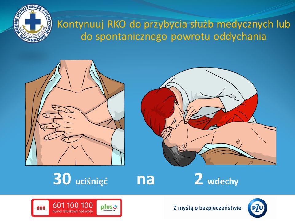 Kontynuuj RKO do przybycia służb medycznych lub do spontanicznego powrotu oddychania 30 uciśnięć na 2 wdechy