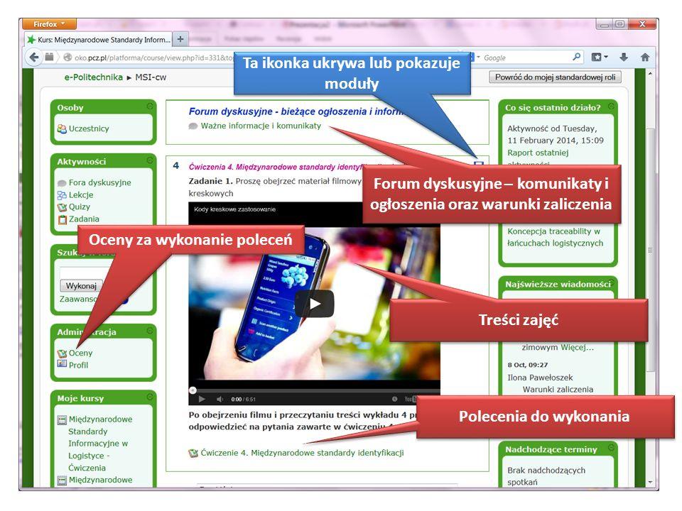 Jak wyglądają zajęcia? Forum dyskusyjne – komunikaty i ogłoszenia oraz warunki zaliczenia Treści zajęć Polecenia do wykonania Oceny za wykonanie polec