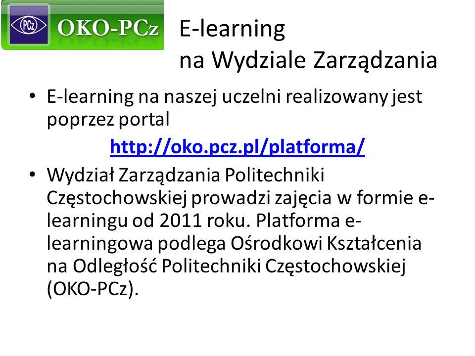 E-learning na Wydziale Zarządzania E-learning na naszej uczelni realizowany jest poprzez portal http://oko.pcz.pl/platforma/ Wydział Zarządzania Polit
