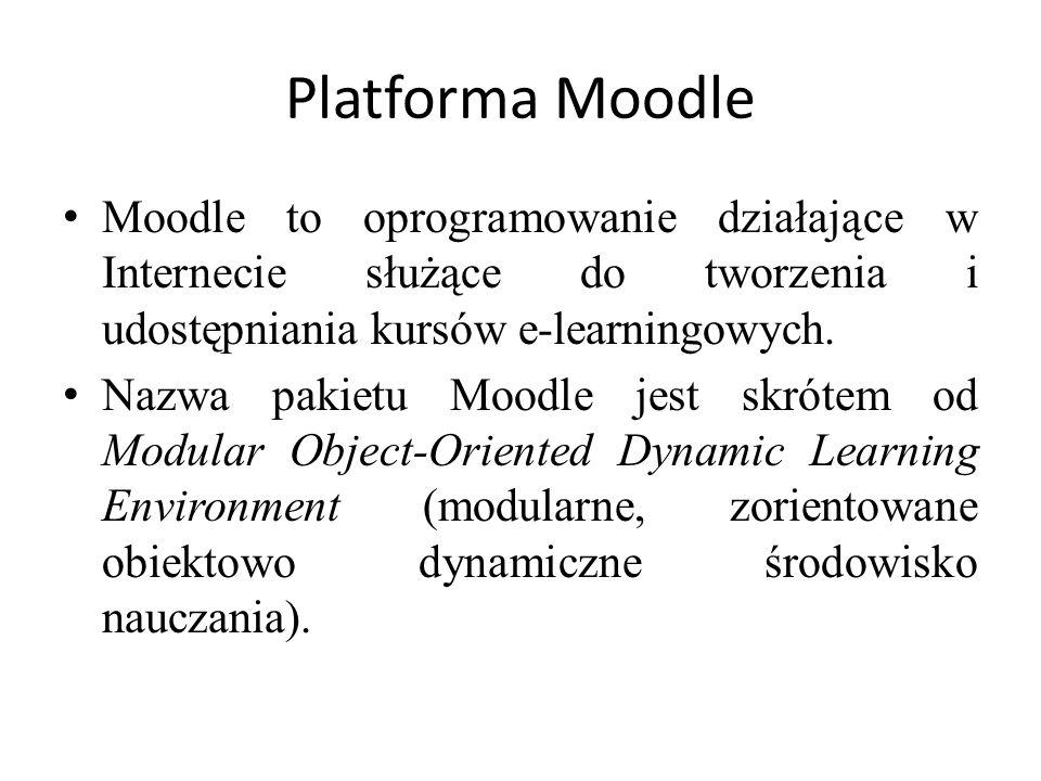 Platforma Moodle Moodle to oprogramowanie działające w Internecie służące do tworzenia i udostępniania kursów e-learningowych. Nazwa pakietu Moodle je