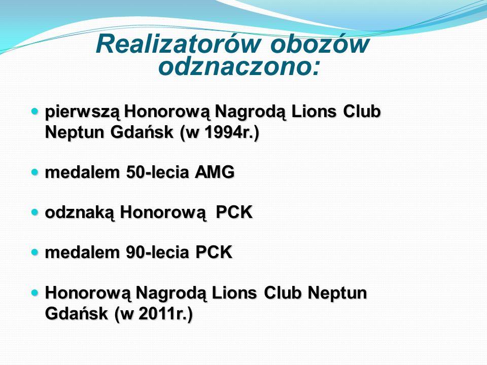Realizatorów obozów odznaczono: pierwszą Honorową Nagrodą Lions Club Neptun Gdańsk (w 1994r.) pierwszą Honorową Nagrodą Lions Club Neptun Gdańsk (w 1994r.) medalem 50-lecia AMG medalem 50-lecia AMG odznaką Honorową PCK odznaką Honorową PCK medalem 90-lecia PCK medalem 90-lecia PCK Honorową Nagrodą Lions Club Neptun Gdańsk (w 2011r.) Honorową Nagrodą Lions Club Neptun Gdańsk (w 2011r.)