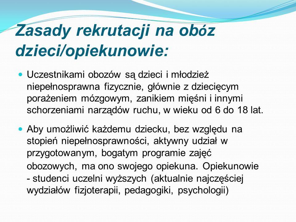 Zasady rekrutacji na ob ó z dzieci/opiekunowie: Uczestnikami obozów są dzieci i młodzież niepełnosprawna fizycznie, głównie z dziecięcym porażeniem mó