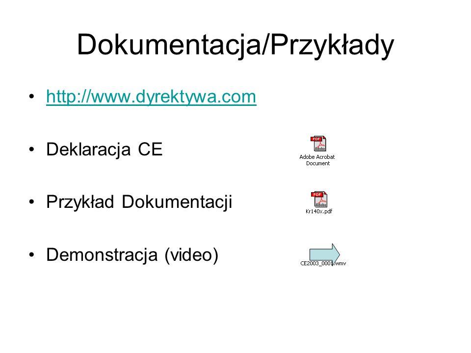 Dokumentacja/Przykłady http://www.dyrektywa.com Deklaracja CE Przykład Dokumentacji Demonstracja (video)
