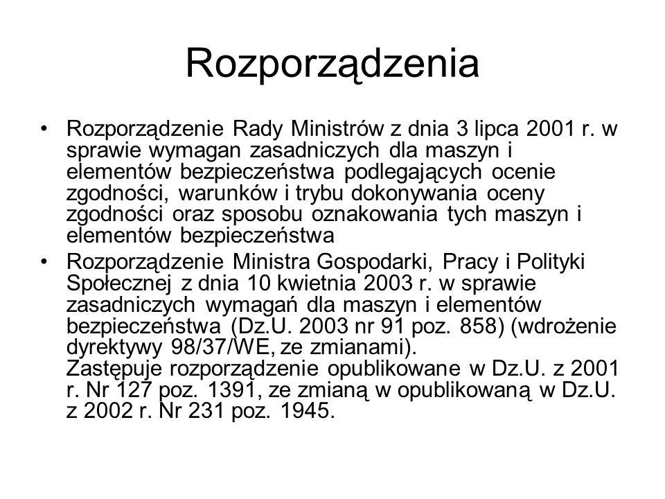 Rozporządzenia Rozporządzenie Rady Ministrów z dnia 3 lipca 2001 r. w sprawie wymagan zasadniczych dla maszyn i elementów bezpieczeństwa podlegających