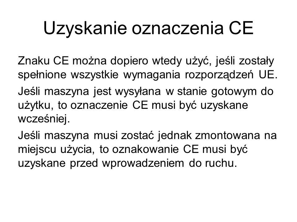 Uzyskanie oznaczenia CE Znaku CE można dopiero wtedy użyć, jeśli zostały spełnione wszystkie wymagania rozporządzeń UE. Jeśli maszyna jest wysyłana w