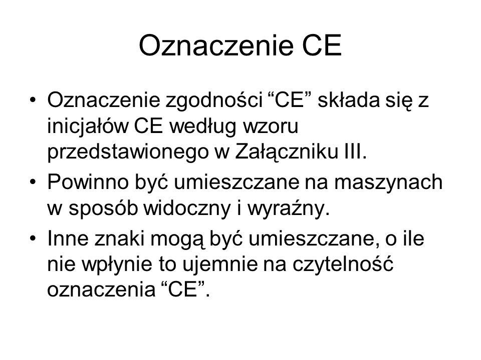 Oznaczenie CE Oznaczenie zgodności CE składa się z inicjałów CE według wzoru przedstawionego w Załączniku III. Powinno być umieszczane na maszynach w