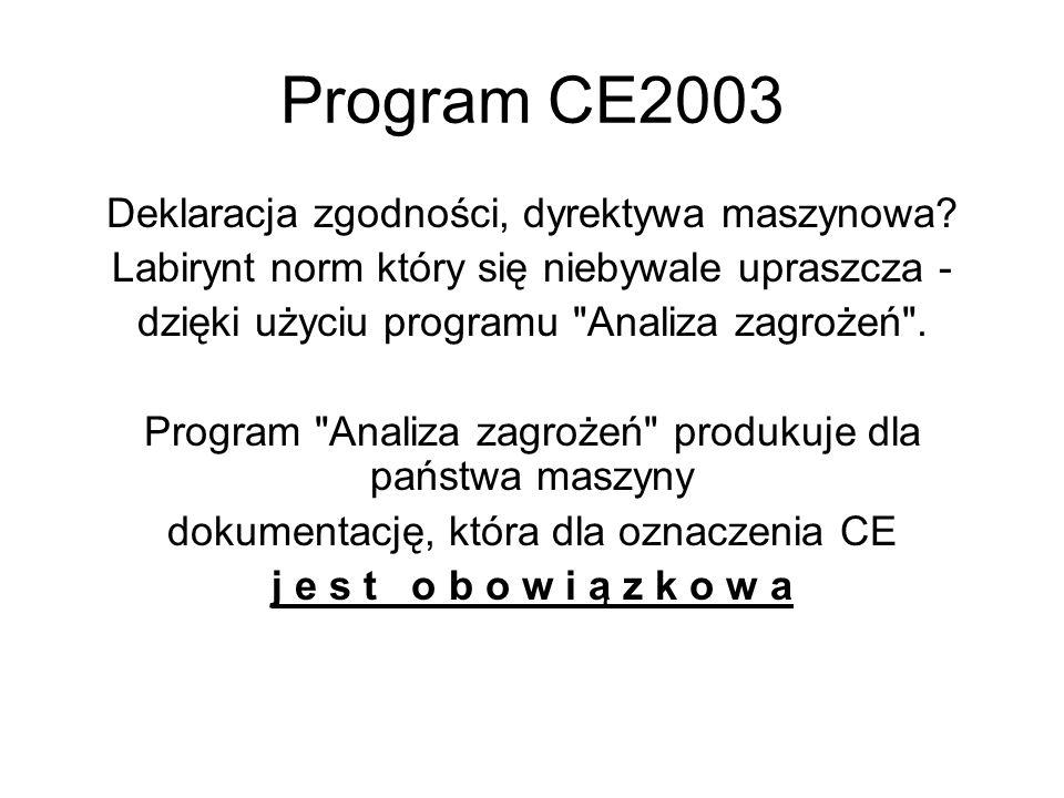 Program CE2003 Deklaracja zgodności, dyrektywa maszynowa? Labirynt norm który się niebywale upraszcza - dzięki użyciu programu
