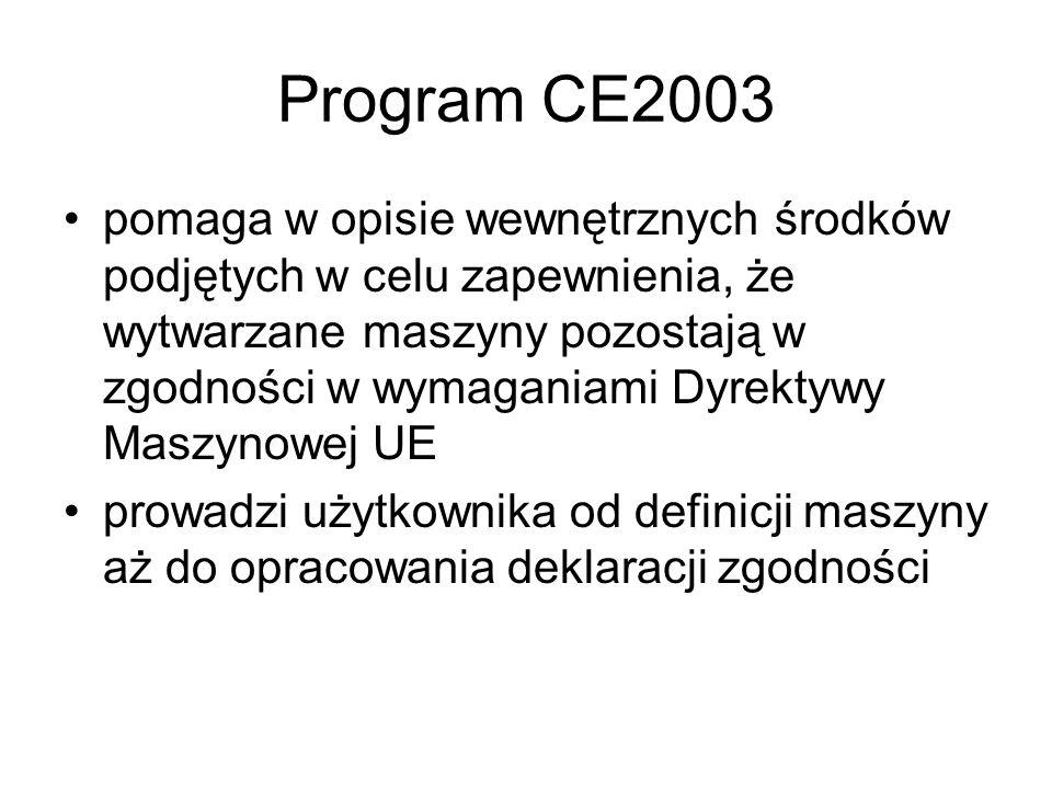 Program CE2003 pomaga w opisie wewnętrznych środków podjętych w celu zapewnienia, że wytwarzane maszyny pozostają w zgodności w wymaganiami Dyrektywy