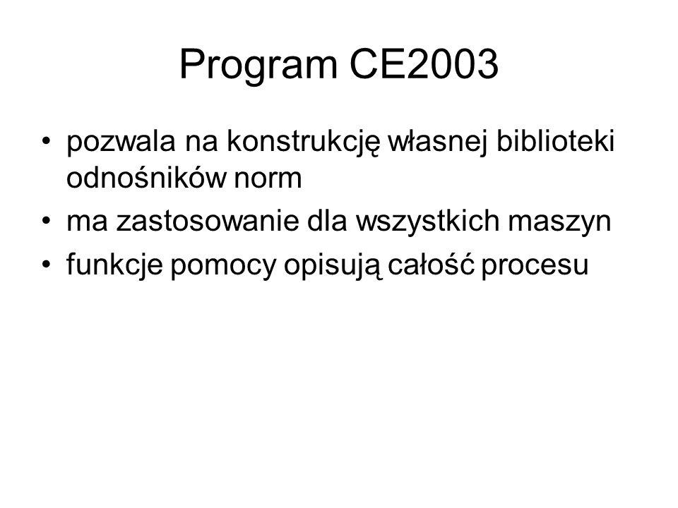 Program CE2003 pozwala na konstrukcję własnej biblioteki odnośników norm ma zastosowanie dla wszystkich maszyn funkcje pomocy opisują całość procesu