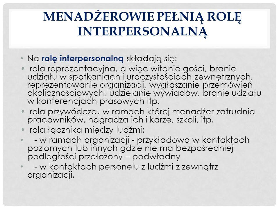 MENADŻEROWIE PEŁNIĄ ROLĘ INTERPERSONALNĄ Na rolę interpersonalną składają się: rola reprezentacyjna, a więc witanie gości, branie udziału w spotkaniac