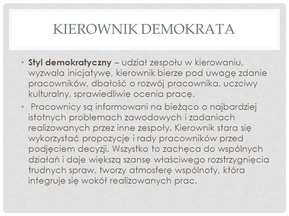 KIEROWNIK DEMOKRATA Styl demokratyczny – udział zespołu w kierowaniu, wyzwala inicjatywę, kierownik bierze pod uwagę zdanie pracowników, dbałość o roz