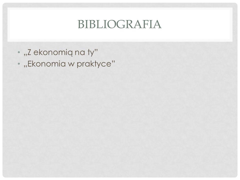 BIBLIOGRAFIA Z ekonomią na ty Ekonomia w praktyce