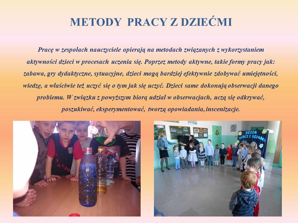 METODY PRACY Z DZIEĆMI Pracę w zespołach nauczyciele opierają na metodach związanych z wykorzystaniem aktywności dzieci w procesach uczenia się. Poprz