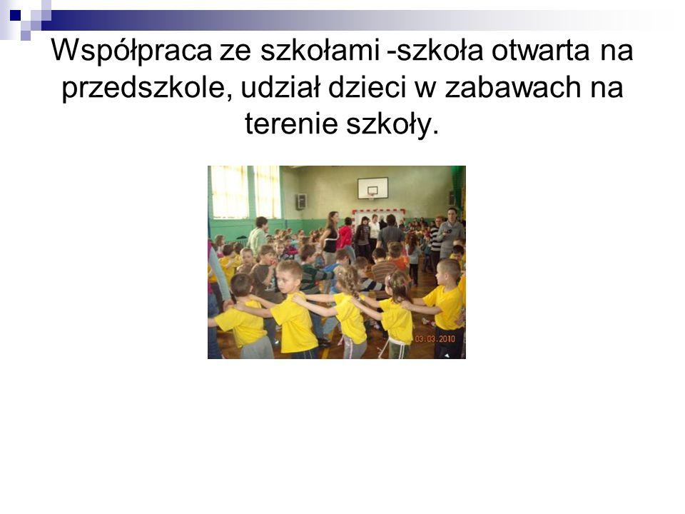 Współpraca ze szkołami -szkoła otwarta na przedszkole, udział dzieci w zabawach na terenie szkoły.
