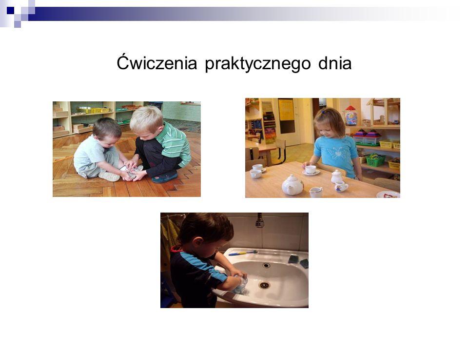 Ćwiczenia z zakresu życia praktycznego sprawiają dzieciom radość i motywują do wytrwania w pracy, do dokładnego jej przeprowadzenia.