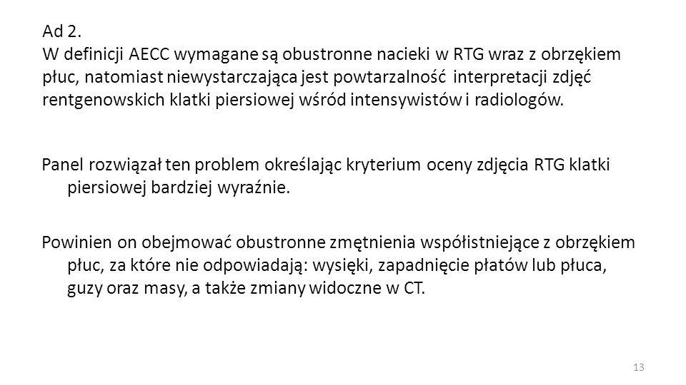 Ad 2. W definicji AECC wymagane są obustronne nacieki w RTG wraz z obrzękiem płuc, natomiast niewystarczająca jest powtarzalność interpretacji zdjęć r